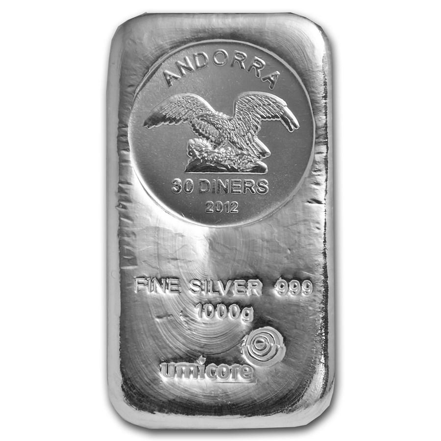 1 Kilo Silver Bar Umicore Silver Coinbar Poured 1000