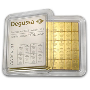50x 1 gram Gold CombiBar™ - Valcambi/Degussa (In Assay)