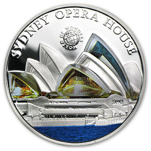 2011 Palau Proof Silver $5 World of Wonders Sydney Opera House