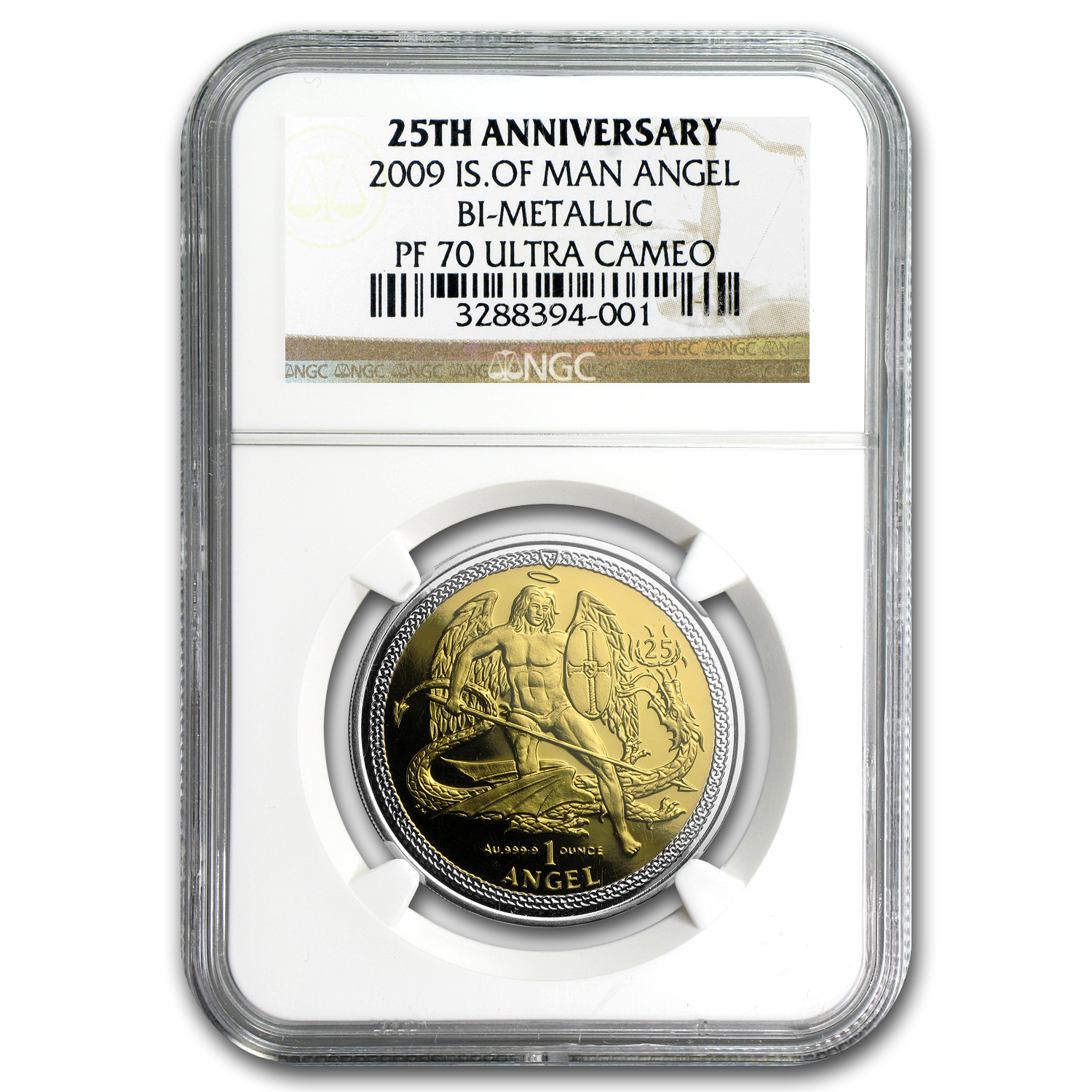 2009 Isle of Man Bi-Metallic 1 oz Gold Angel PF-70 NGC (25th Ann)