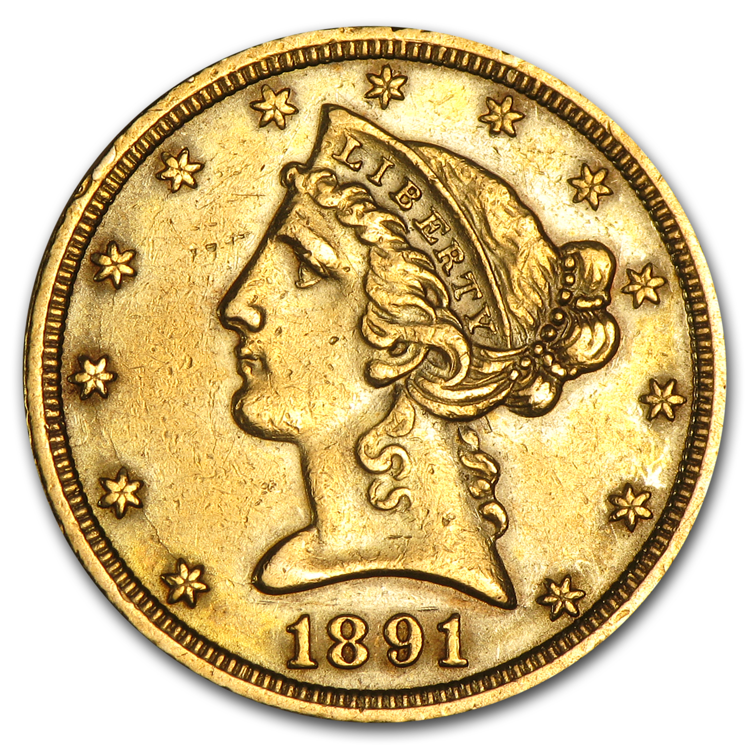 1891-CC $5 Liberty Gold Half Eagle AU Details (Cleaned)