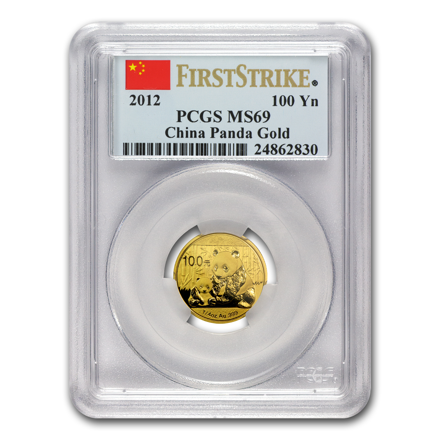 2012 China 1/4 oz Gold Panda MS-69 PCGS (First Strike)