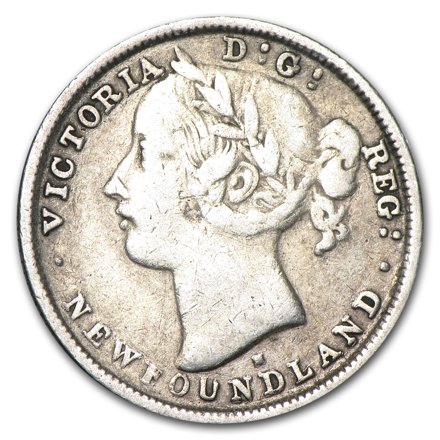 1876-H Newfoundland Silver 20 Cents Victoria Good