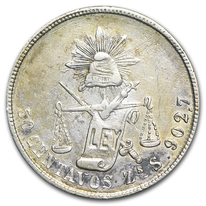 1877 Zs S Mexicosilver 50 Centavos Vf 50 Centavo Vintage