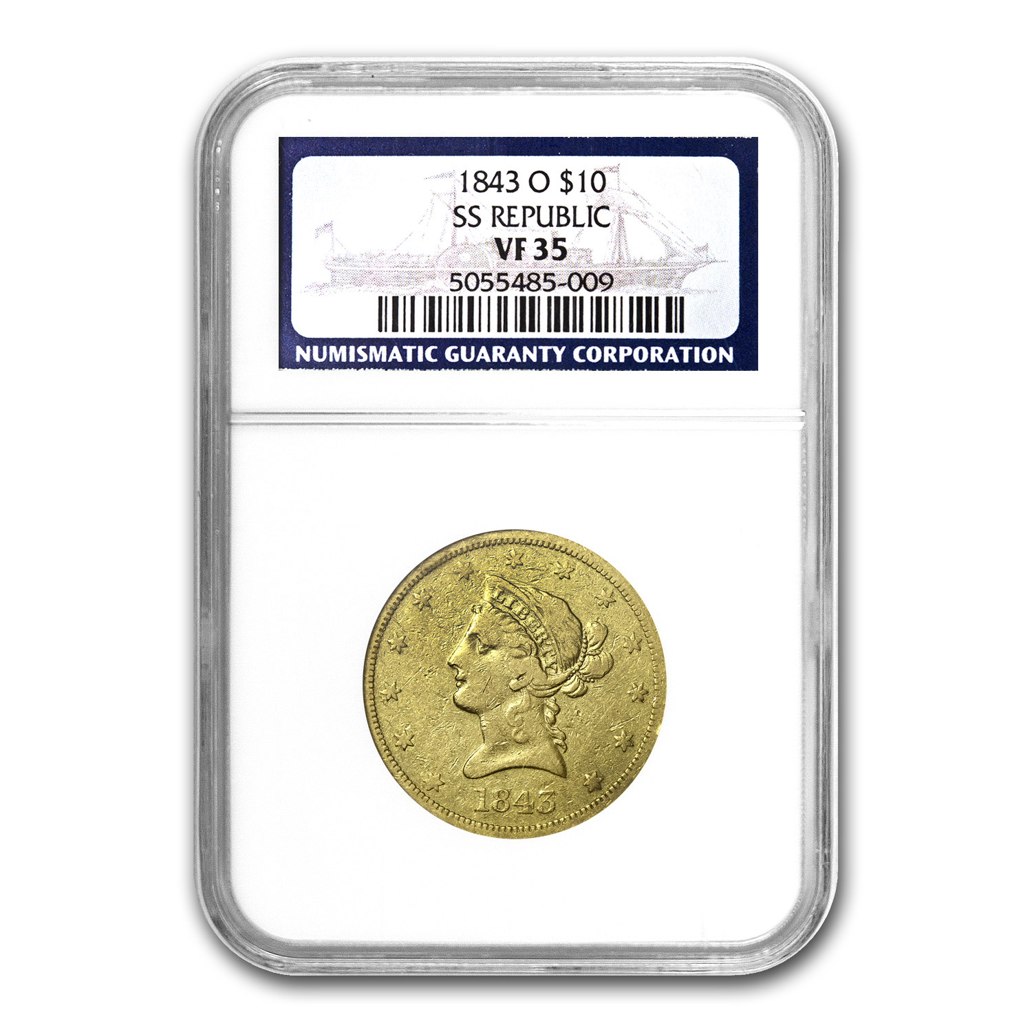 1843-O $10 Liberty Gold Eagle VF-35 NGC (SS Republic)