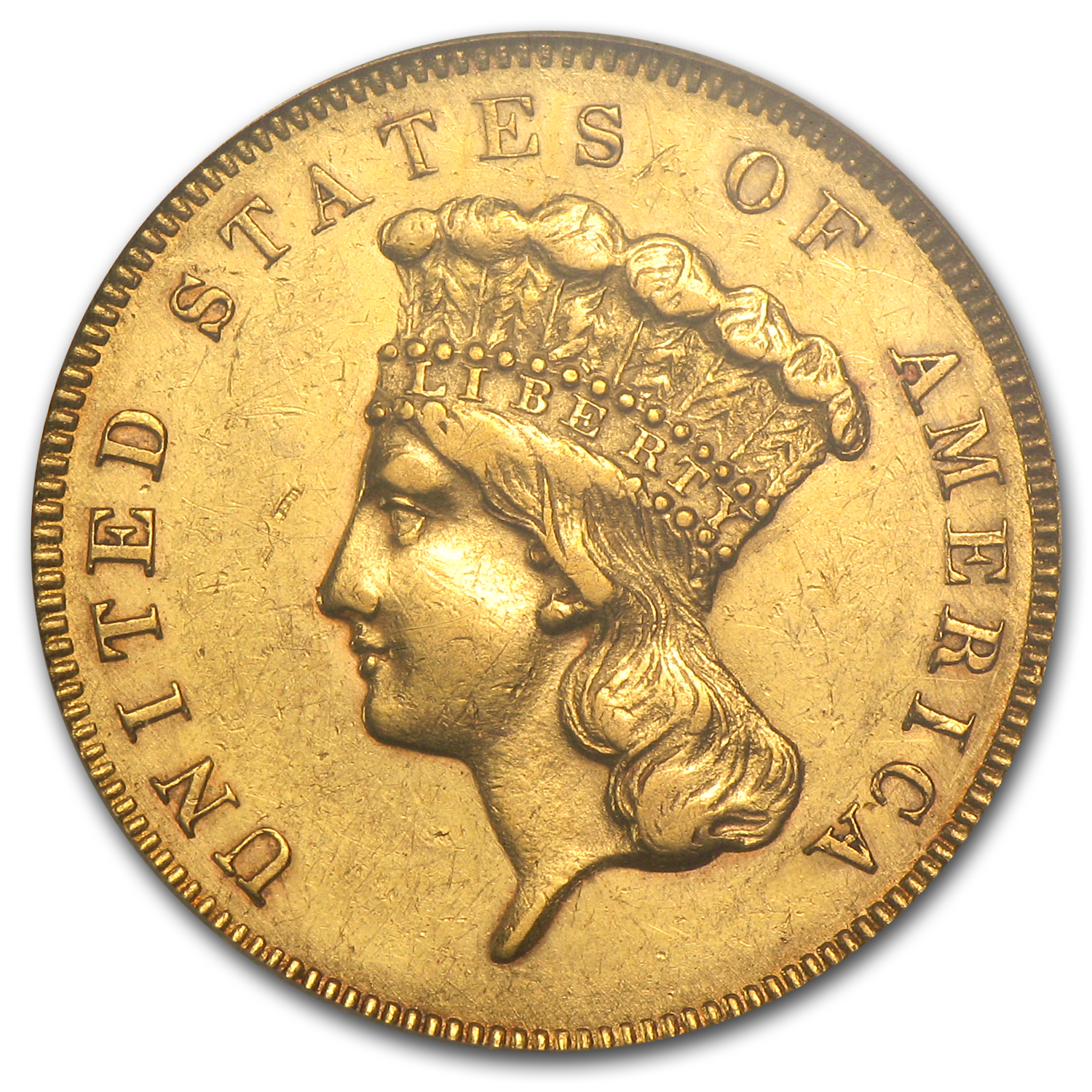 1855 $3 Gold Princess AU-55