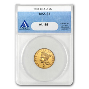 1855 $3 Gold Princess - AU-55