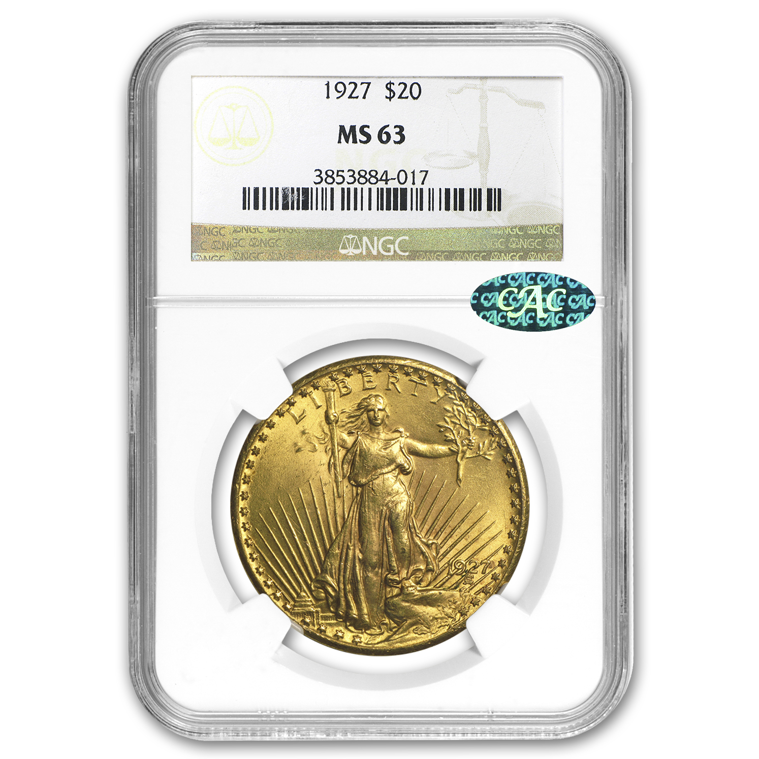$20 Saint-Gaudens Gold Double Eagle MS-63 PCGS/NGC (CAC, Random)