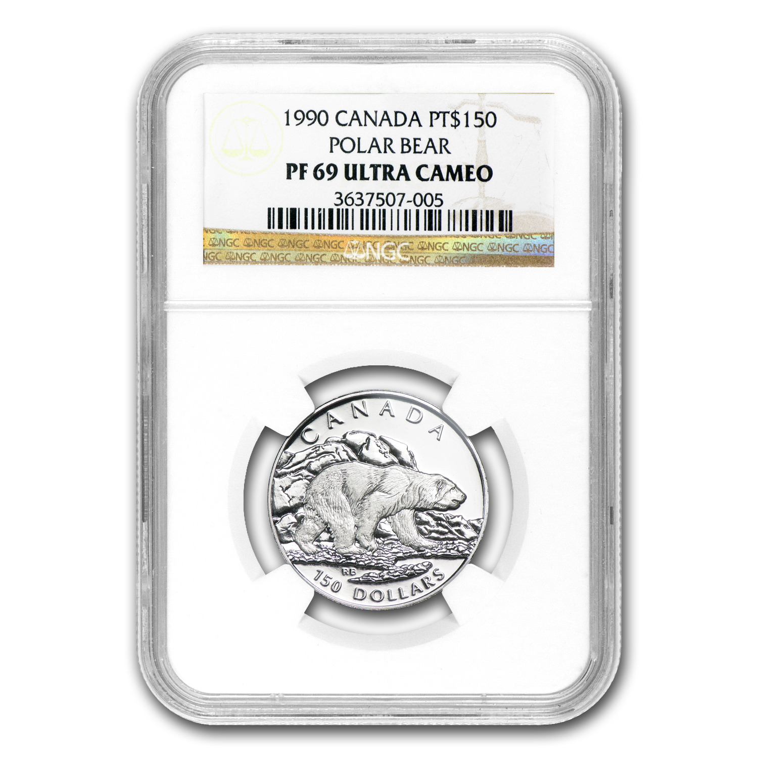1990 1/2 oz Canadian Platinum Polar Bear (PF-69 UCAM NGC)