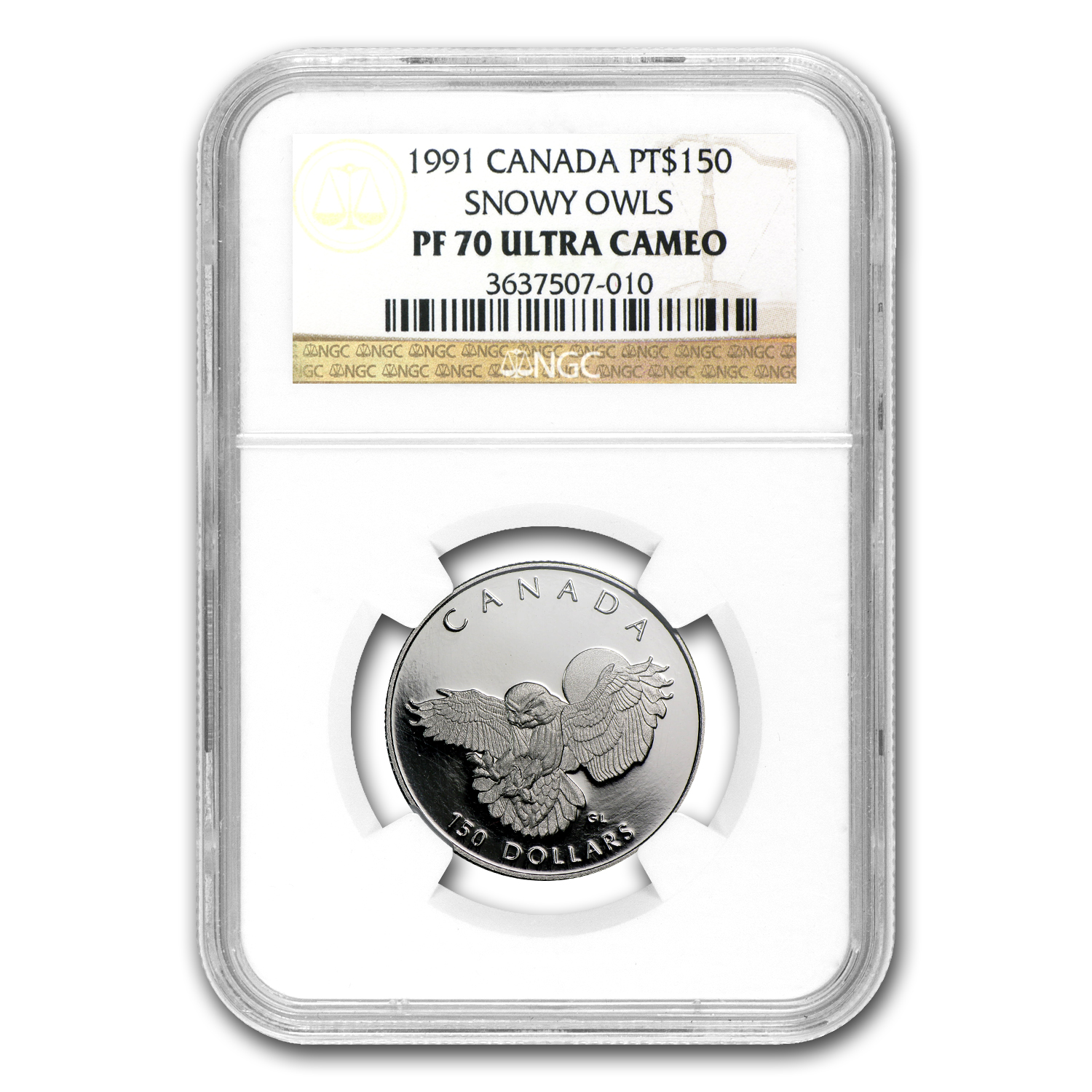1991 1/2 oz Proof Platinum Canadian Snowy Owl PF-70 NGC