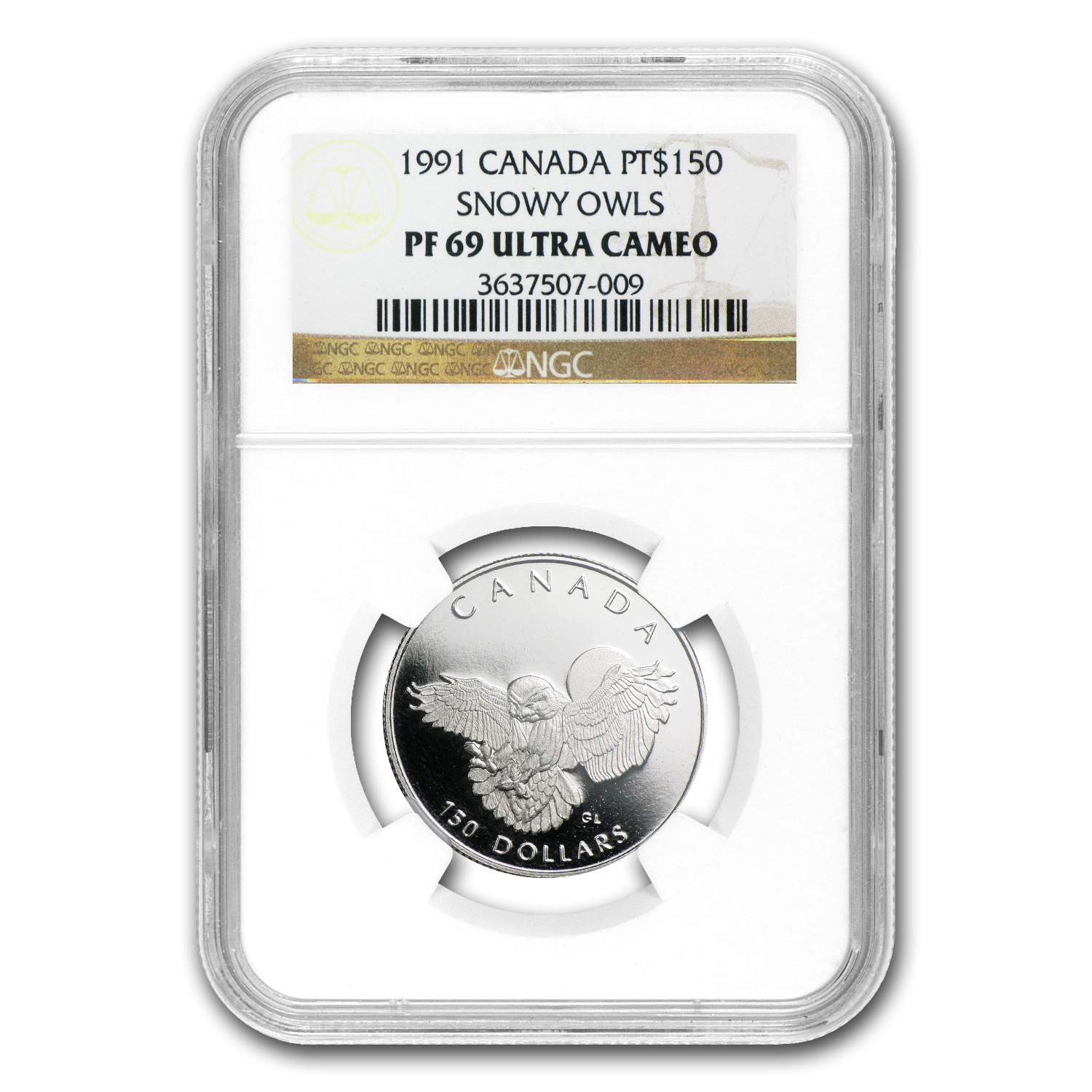 1991 1/2 oz Proof Platinum Canadian Snowy Owl PF-69 NGC