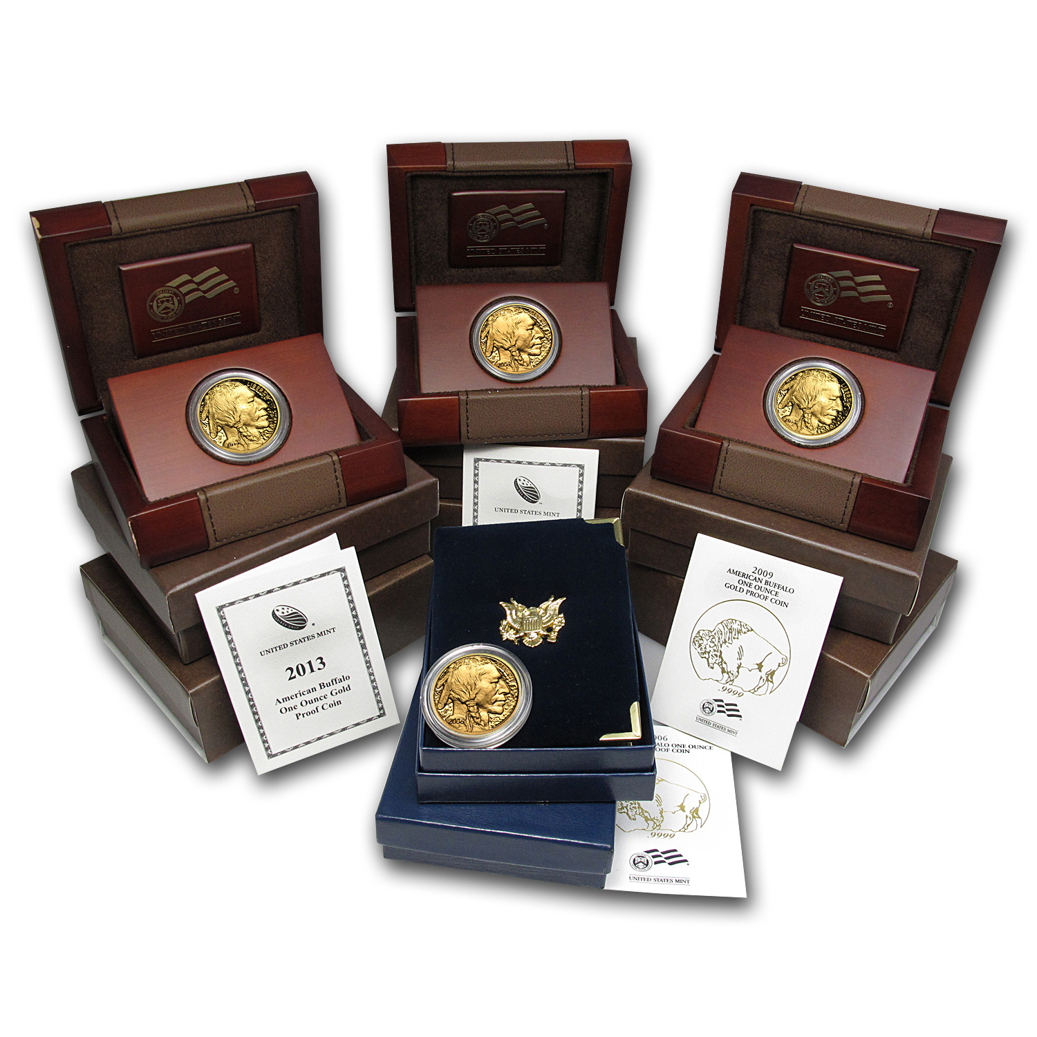 2006-2013 8-Coin 1 oz Proof Gold Buffalo Set (w/Box & COA)
