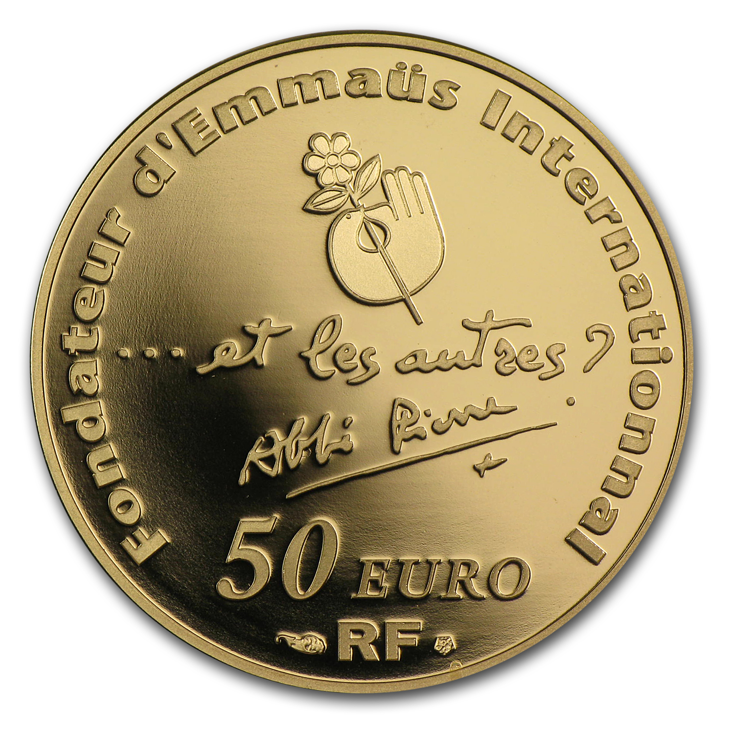 2012 France 1/4 oz Proof Gold 100th Anniv of Abbé Pierre's Birth