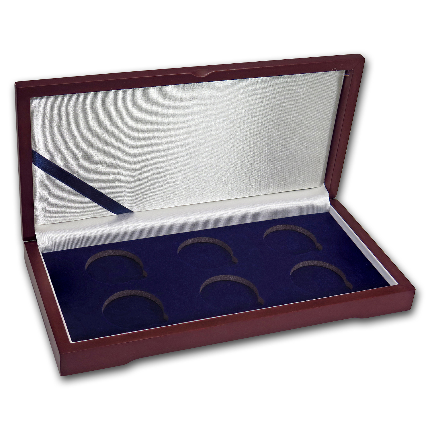 6 Coin Wood Presentation Box - Air-Tite Capsules (H-Style)