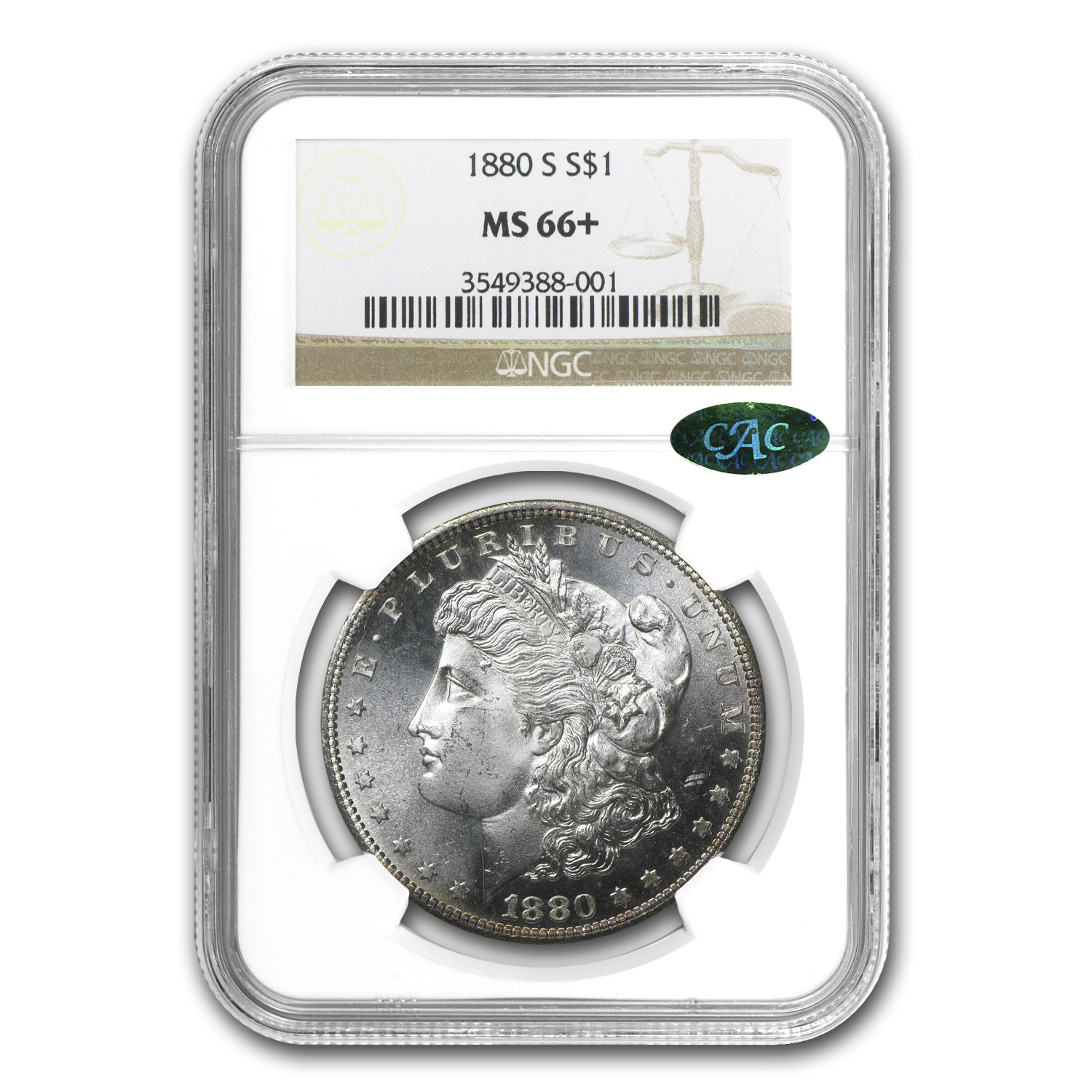 1880-S Morgan Dollar MS-66+ Plus NGC (CAC)