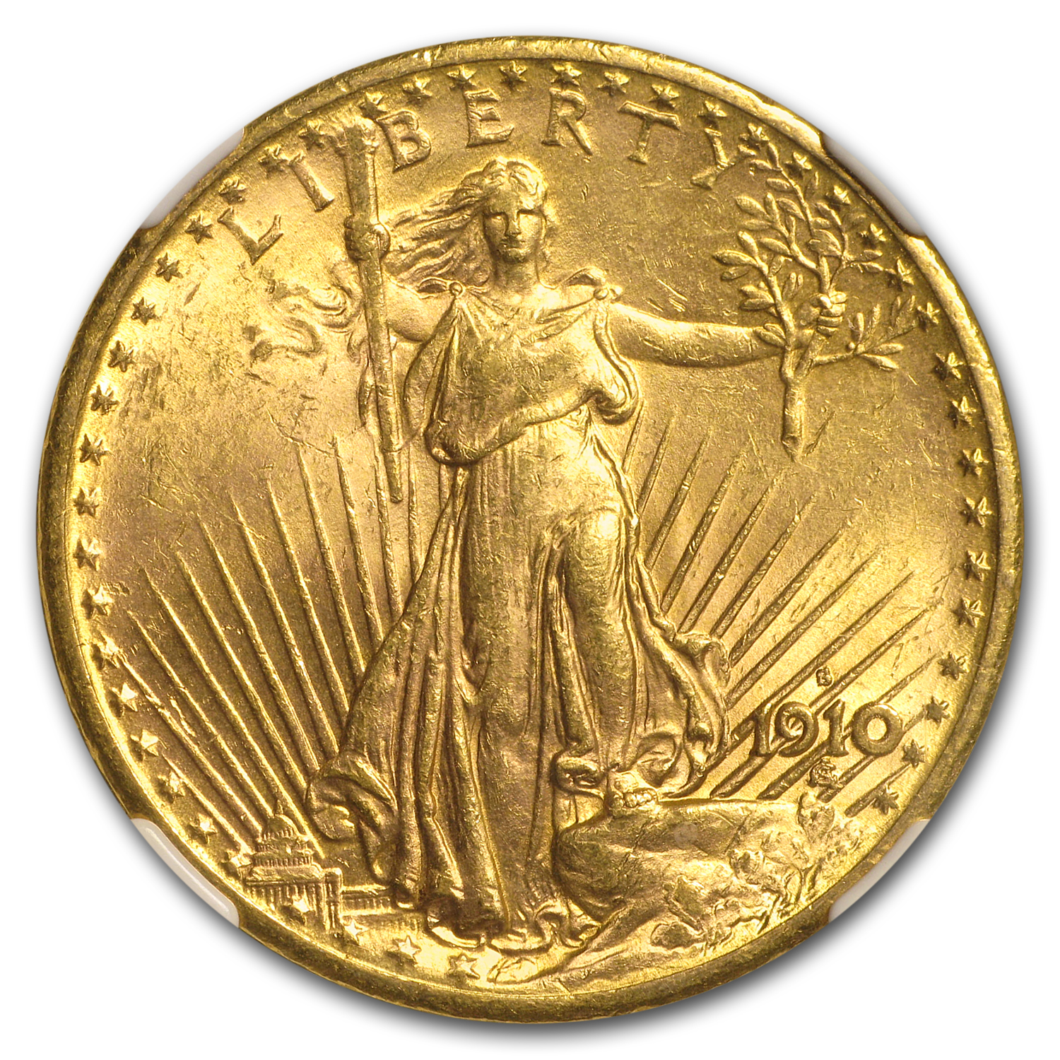 1910-S $20 St. Gaudens Gold Double Eagle - MS-62 NGC