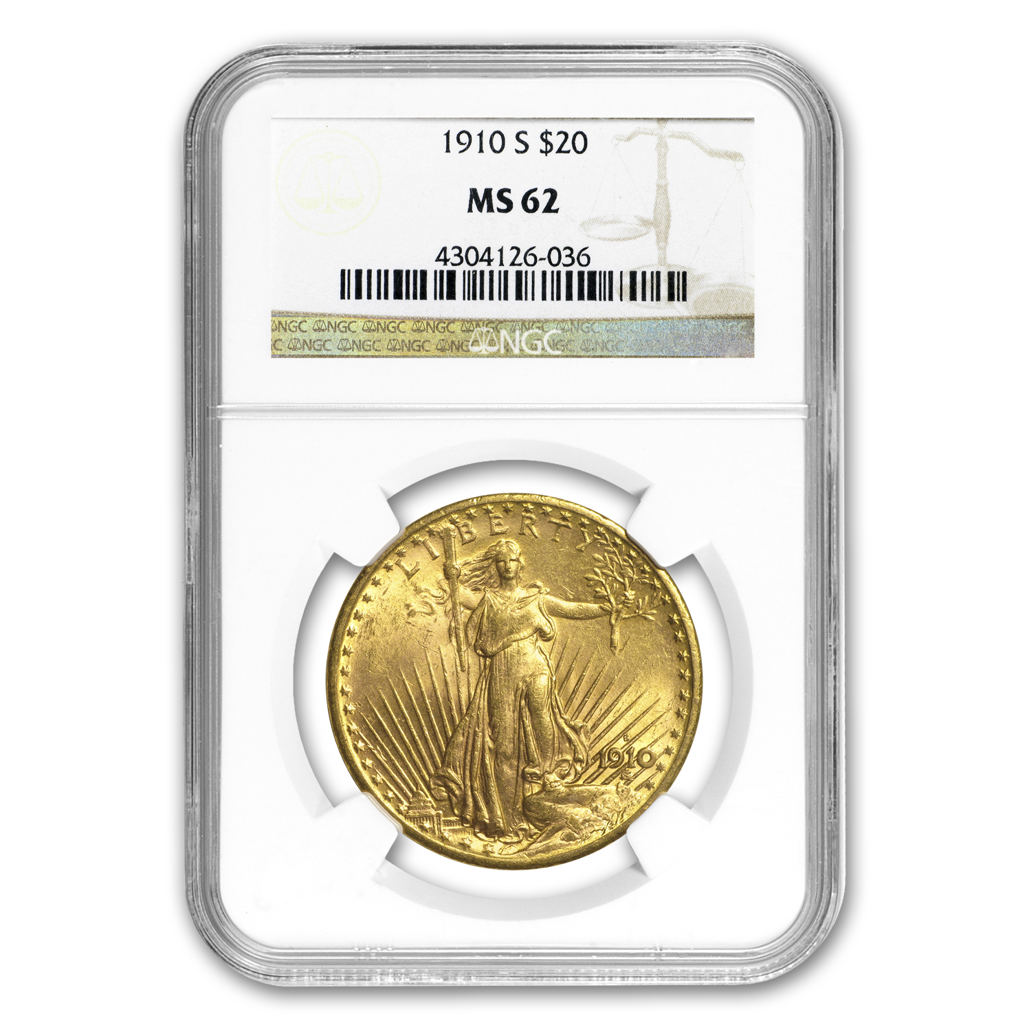1910-S $20 St. Gaudens Gold Double Eagle MS-62 NGC