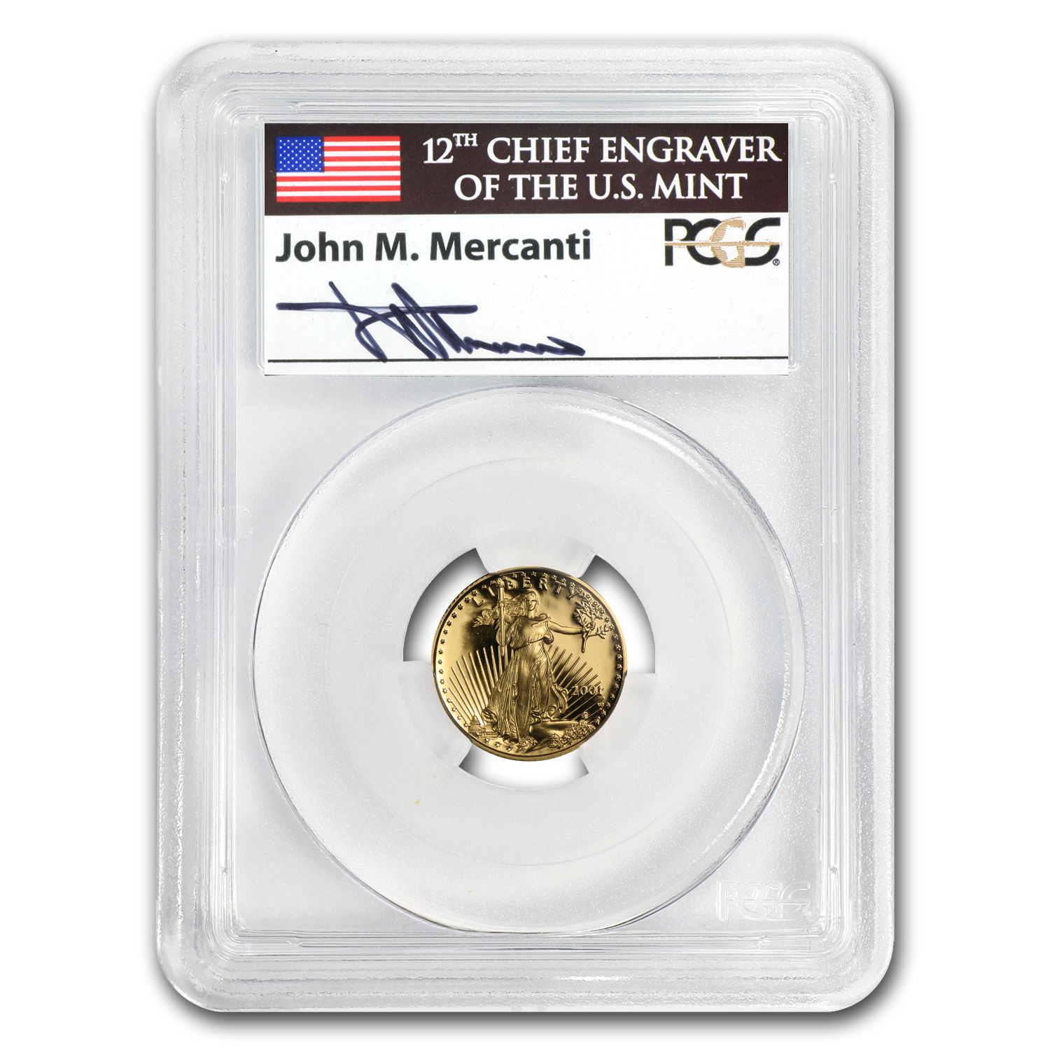 2001-W 1/10 oz Proof Gold American Eagle PR-69 PCGS John Mercanti