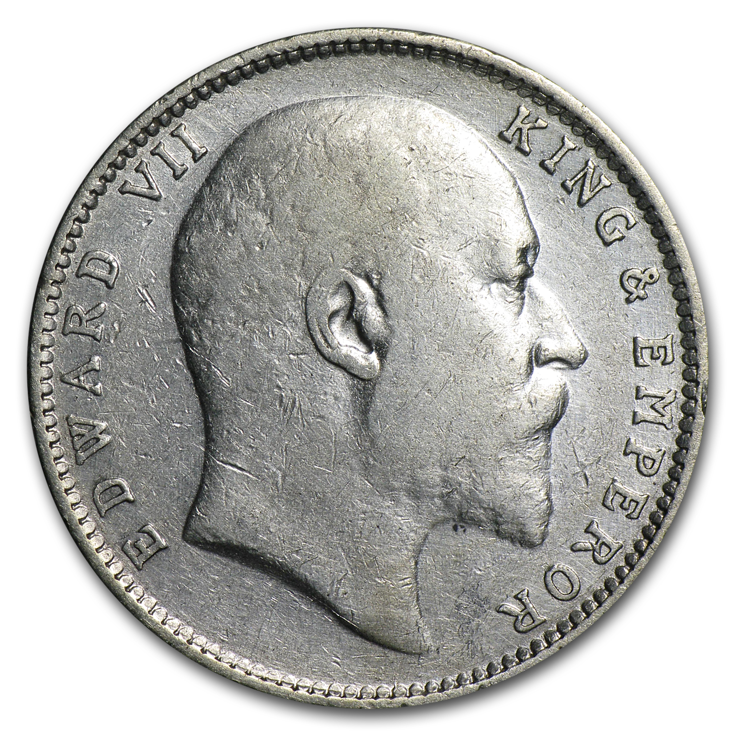 1904 India 1 Silver Rupee Edward VII VF/EF