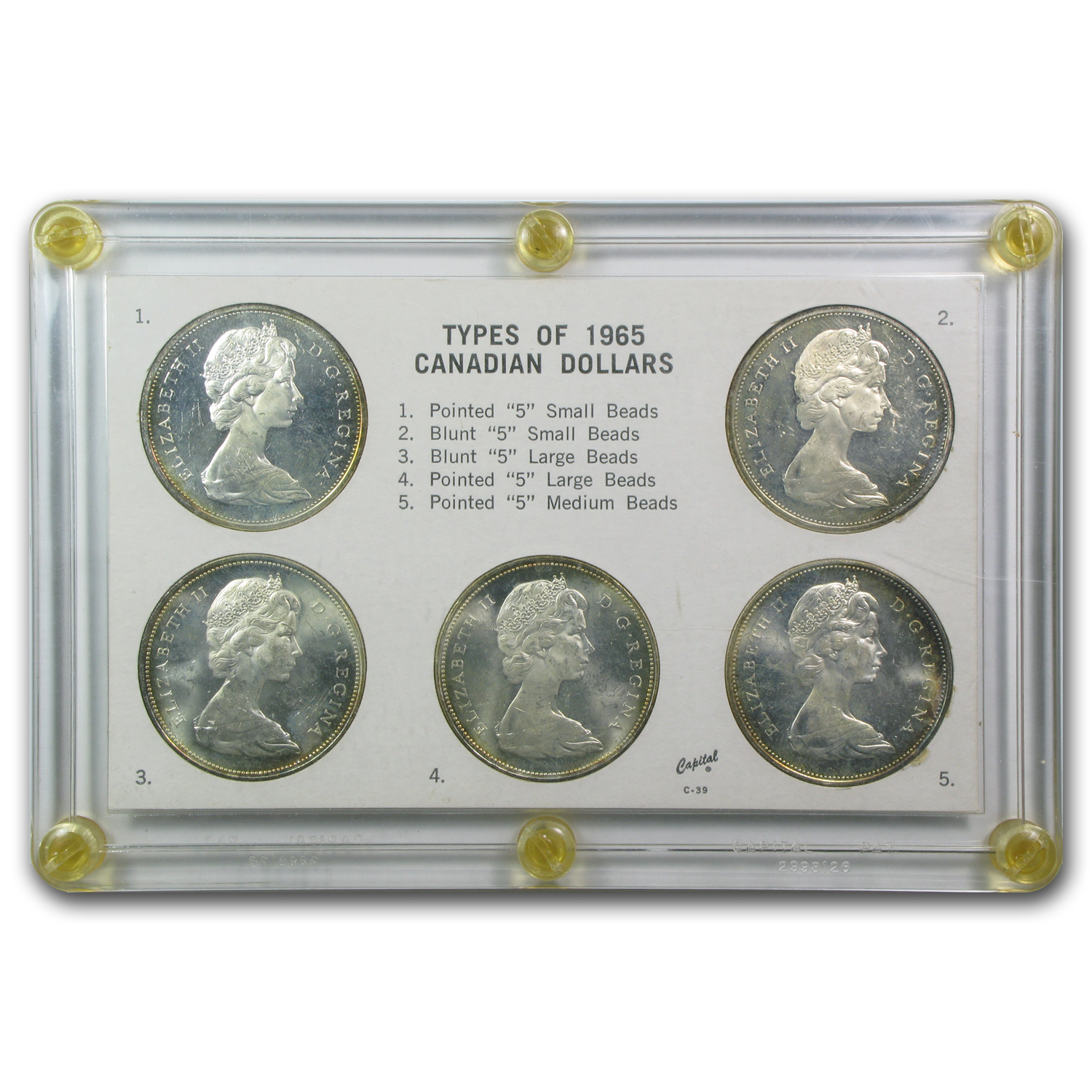 1965 Canada 5-Coin Silver Dollar Type Set BU/Prooflike