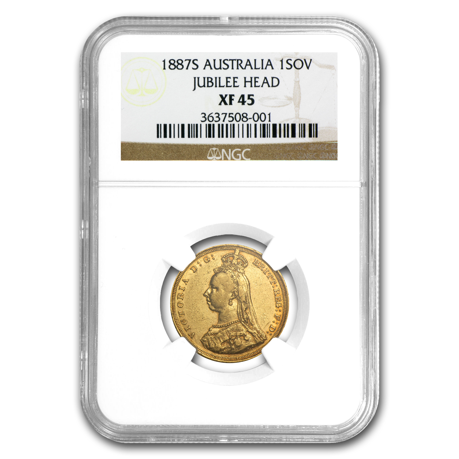 1887-S Australia Gold Sovereign Victoria Jubilee NGC XF-45