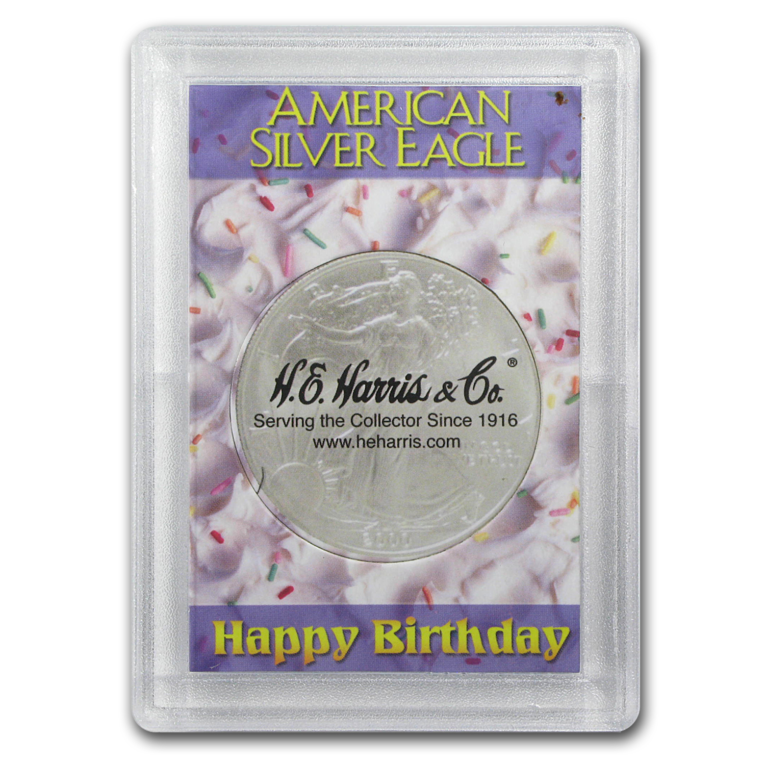 Silver American Eagle Harris Holder (Happy Birthday Design)
