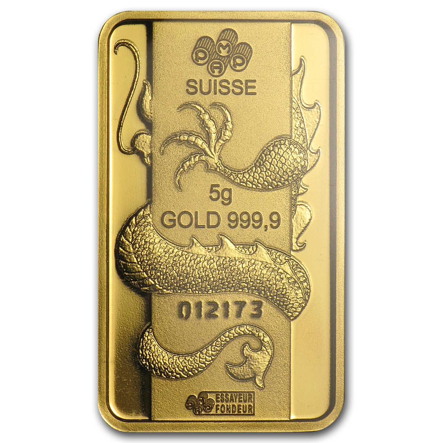 5 gram Gold Bar - Pamp Suisse Year of the Dragon (In Assay)