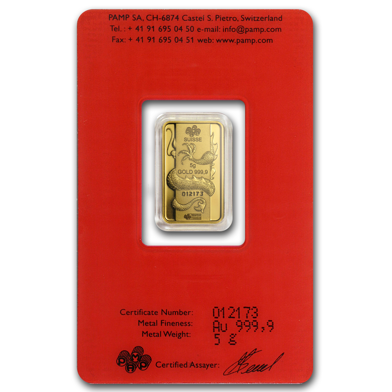 5 gram Gold Bars - Pamp Suisse (Year of the Dragon, in Assay)
