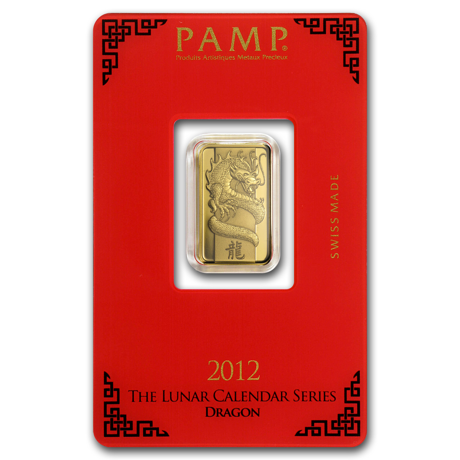 5 gram Gold Bar - Pamp Suisse (Year of the Dragon, in Assay)