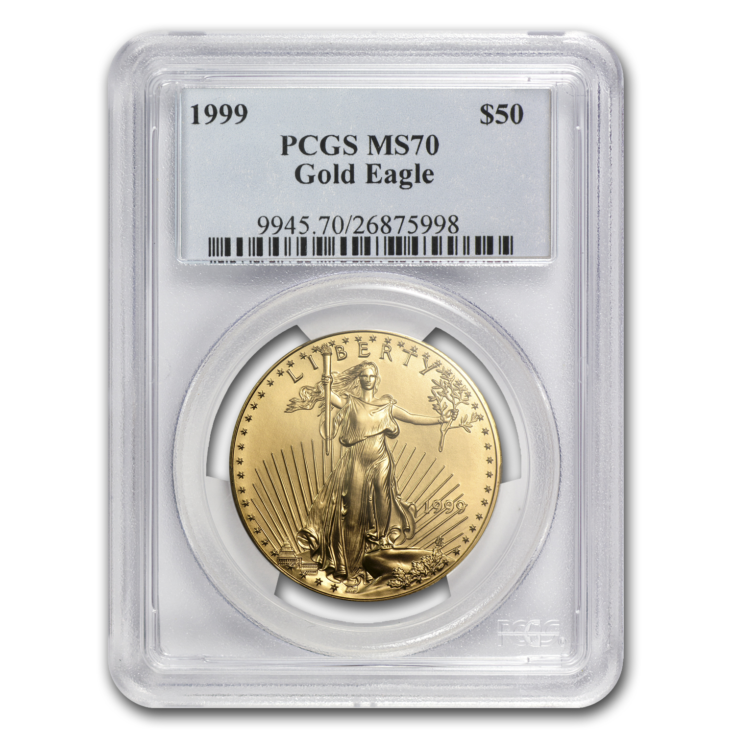 1999 1 oz Gold American Eagle MS-70 PCGS (Registry Coin)