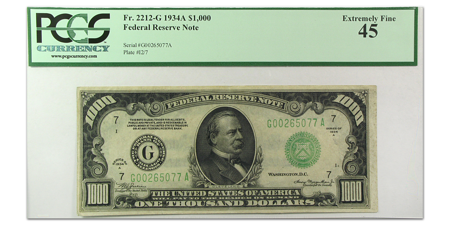 1934-A (G-Chicago) $1,000 FRN XF-45 PMGS