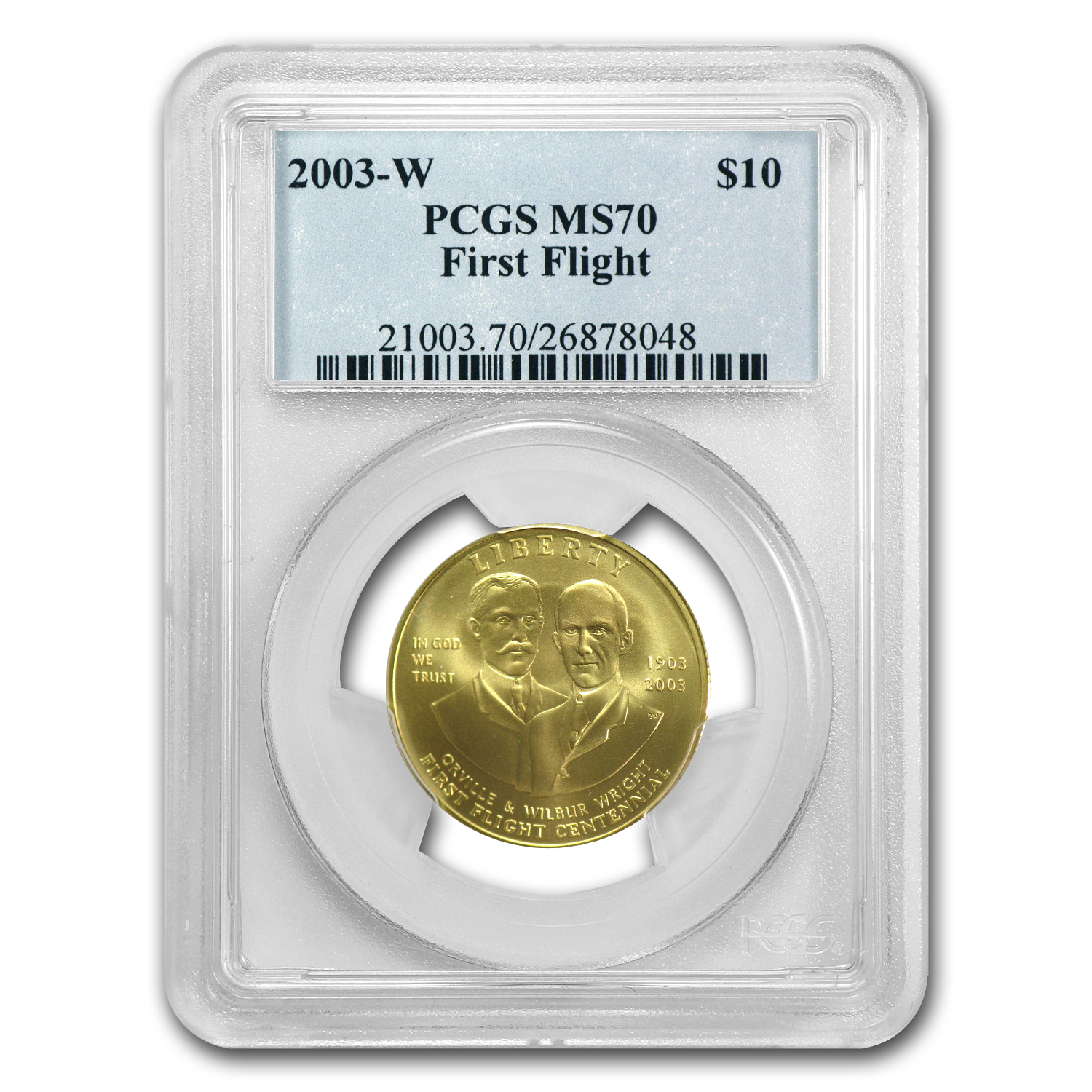 2003-W First Flight Centennial - $10 Gold Commem - MS-70 PCGS