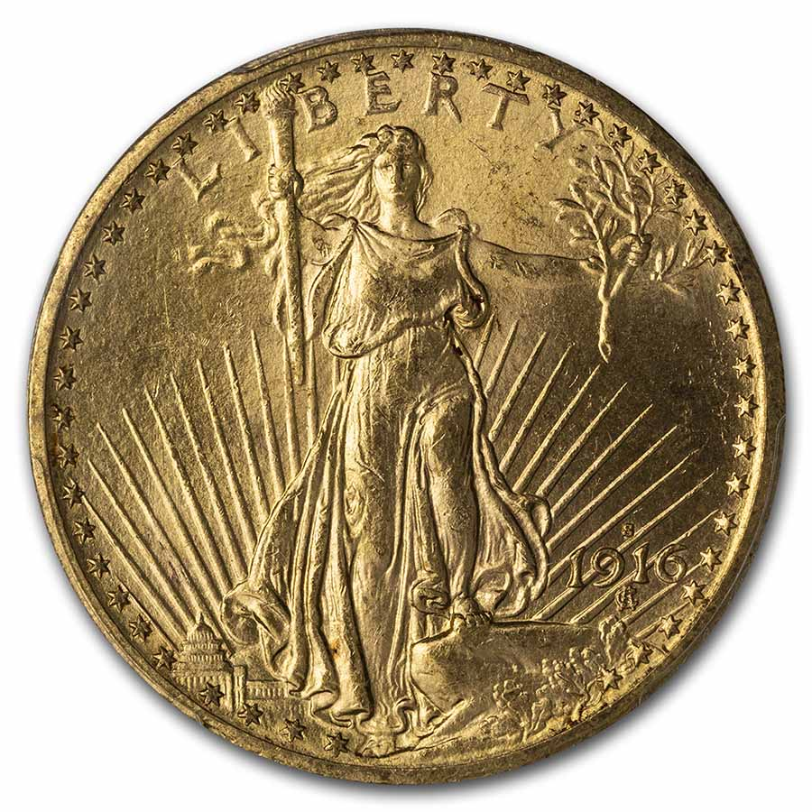1916-S $20 St. Gaudens Gold Double Eagle - MS-63 PCGS