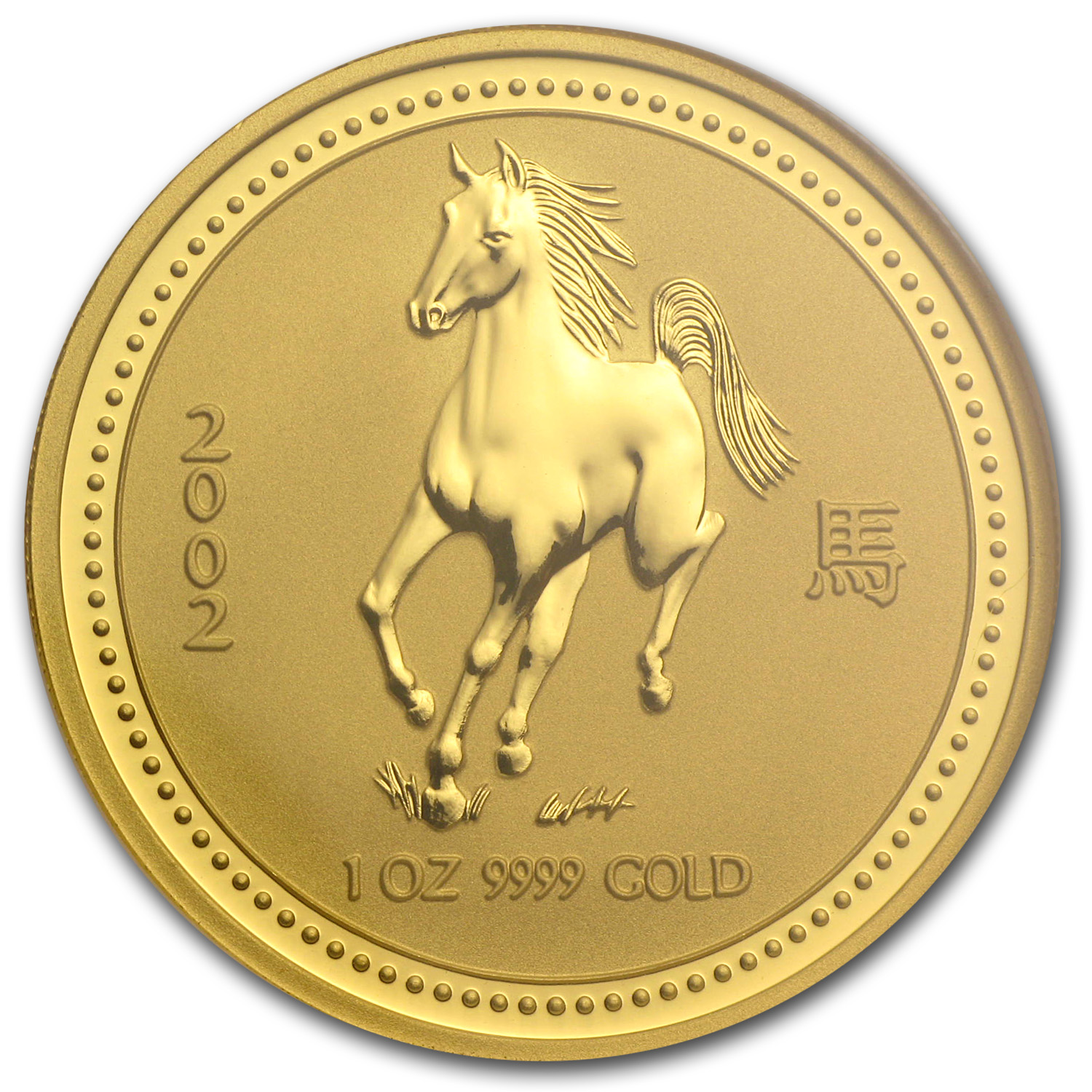2002 1 oz Gold Year of the Horse Lunar Coin (Series I) NGC MS-70