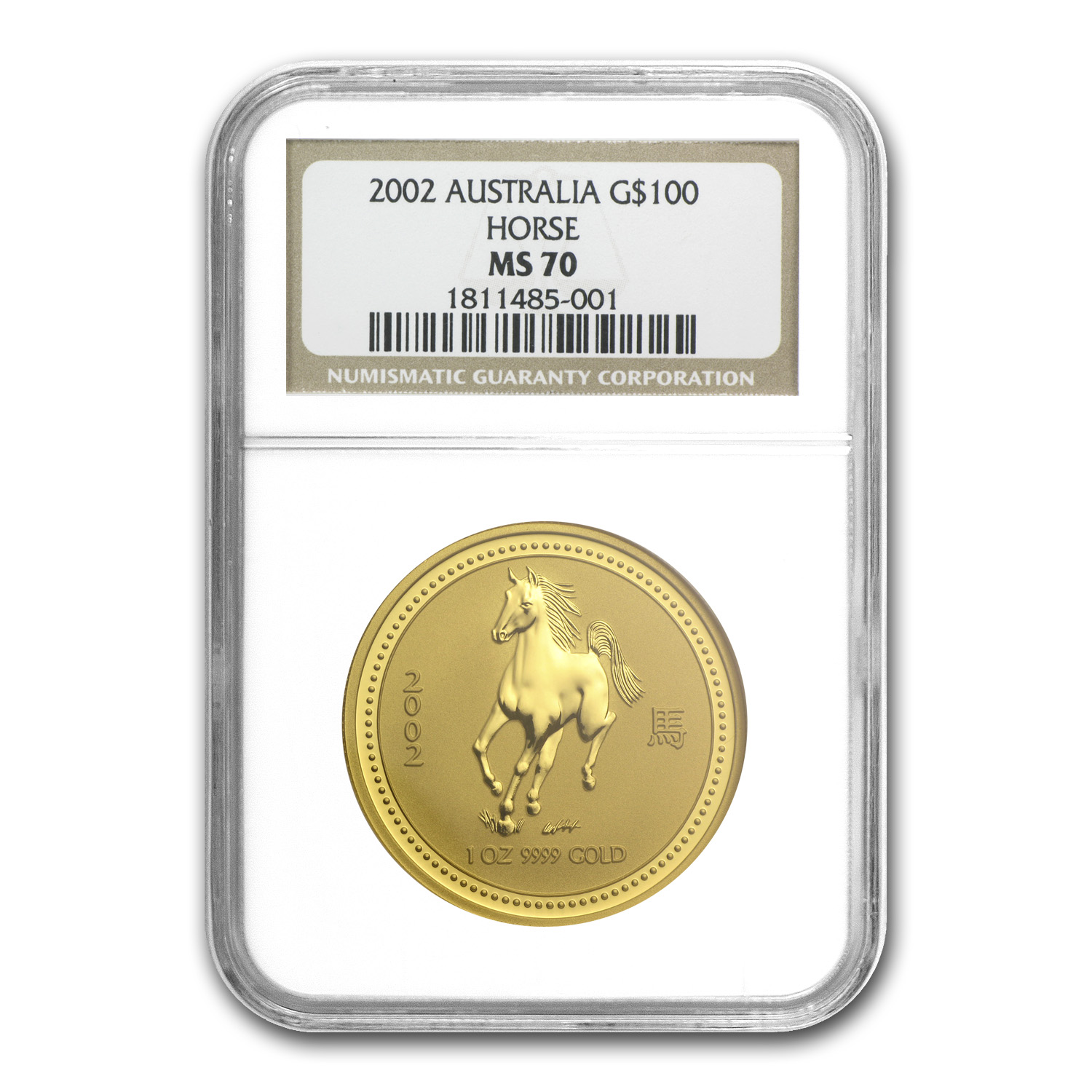 2002 1 oz Gold Lunar Year of the Horse MS-70 NGC (Series I)