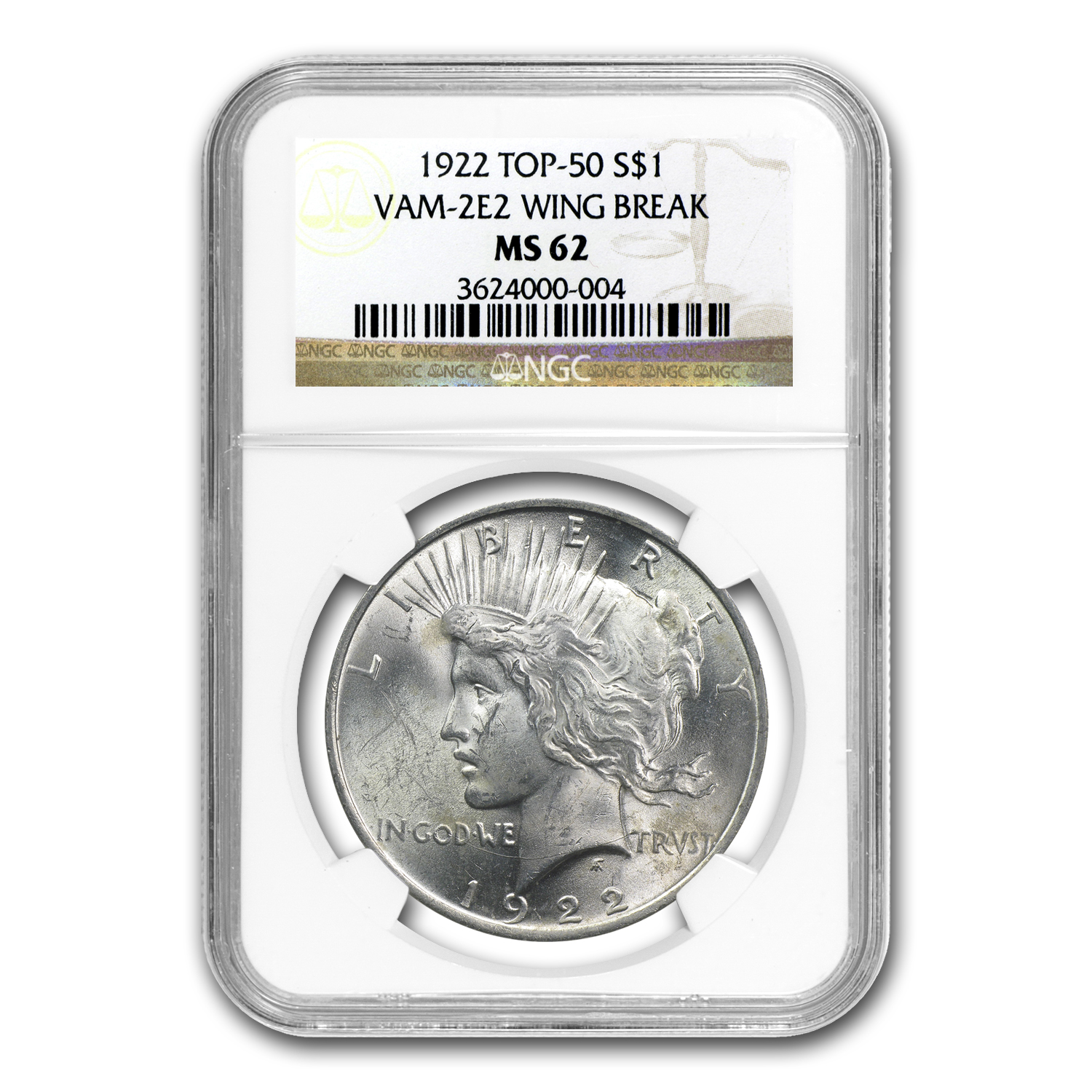 1922 Peace Dollar MS-62 NGC VAM-2E Wing Break & Gouge Top-50