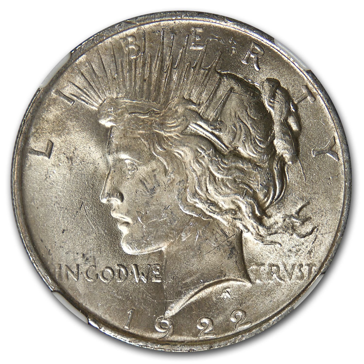 1922 Peace Dollar MS-62 NGC VAM-5A Scar Cheek LDS Top-50