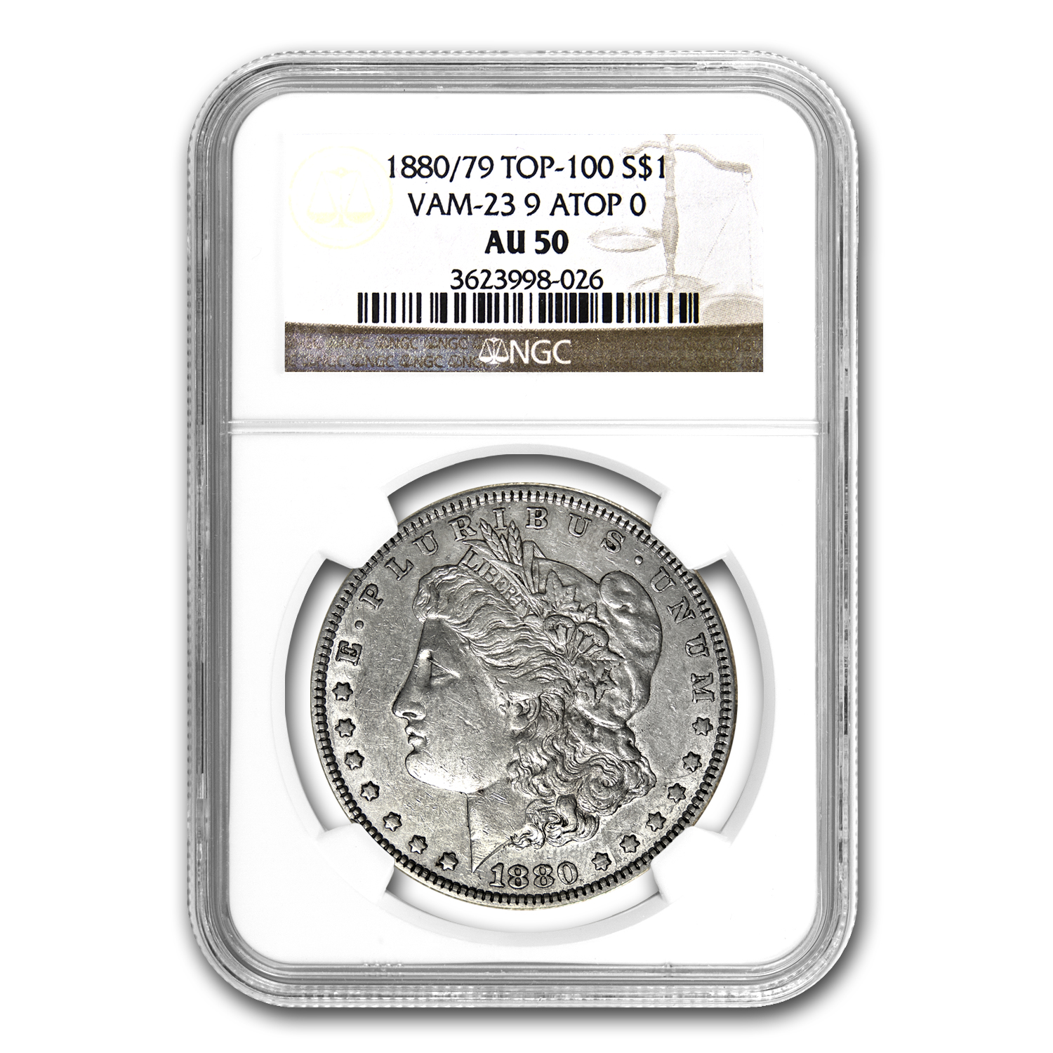 1880/79 Morgan Dollar AU-50 NGC (VAM-23, 80/79 Overdate, Top-100)