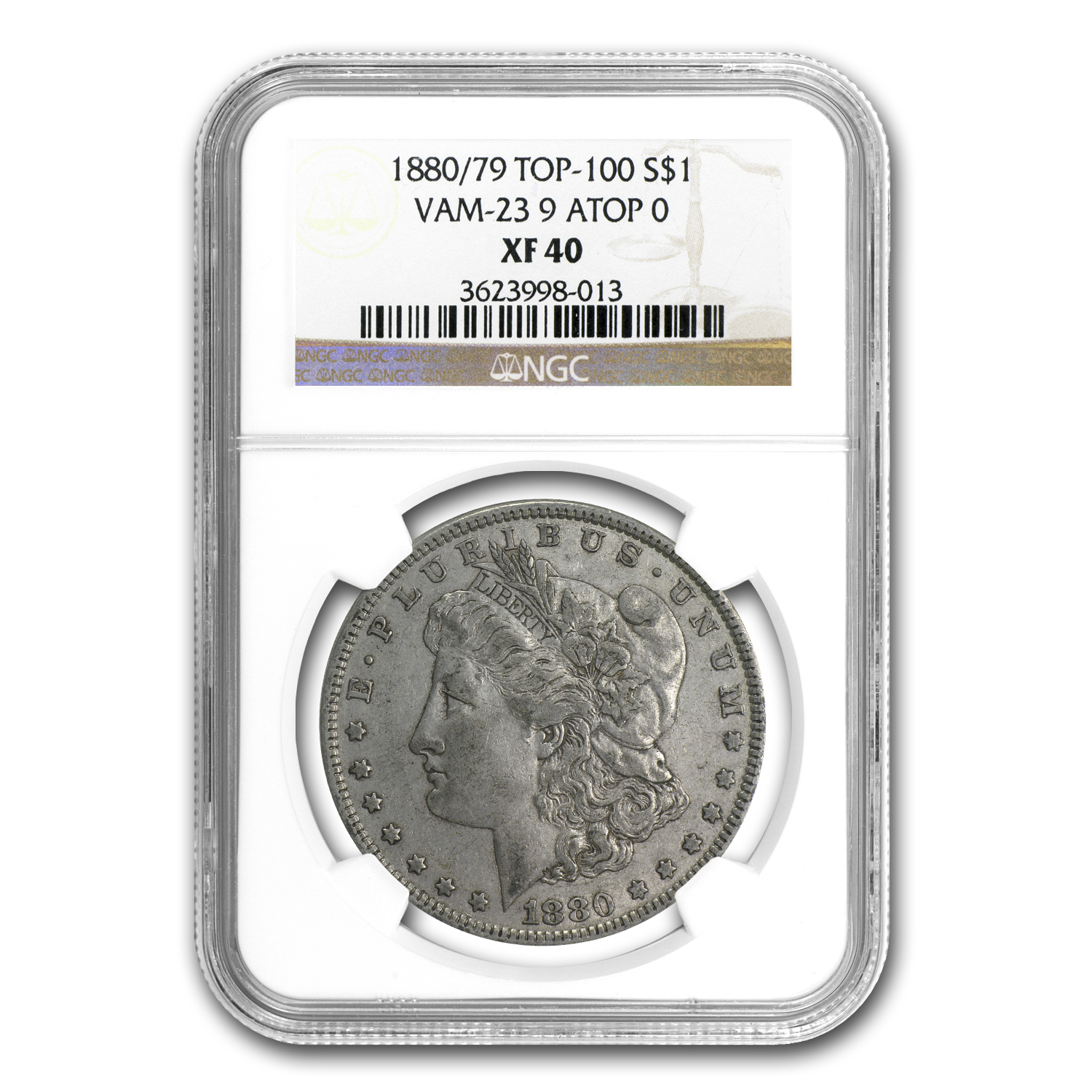 1880/79 Morgan Dollar - XF-40 NGC VAM-23 80/79 Overdate Top-100
