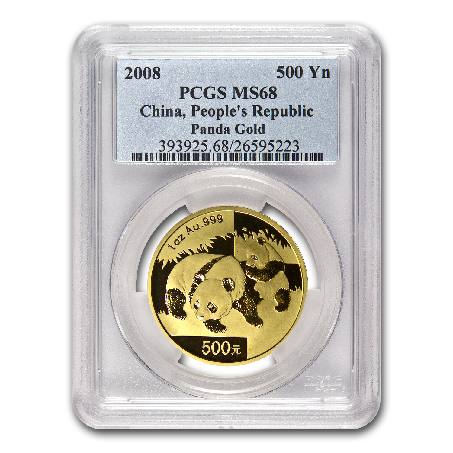 2008 China 1 oz Gold Panda MS-68 PCGS