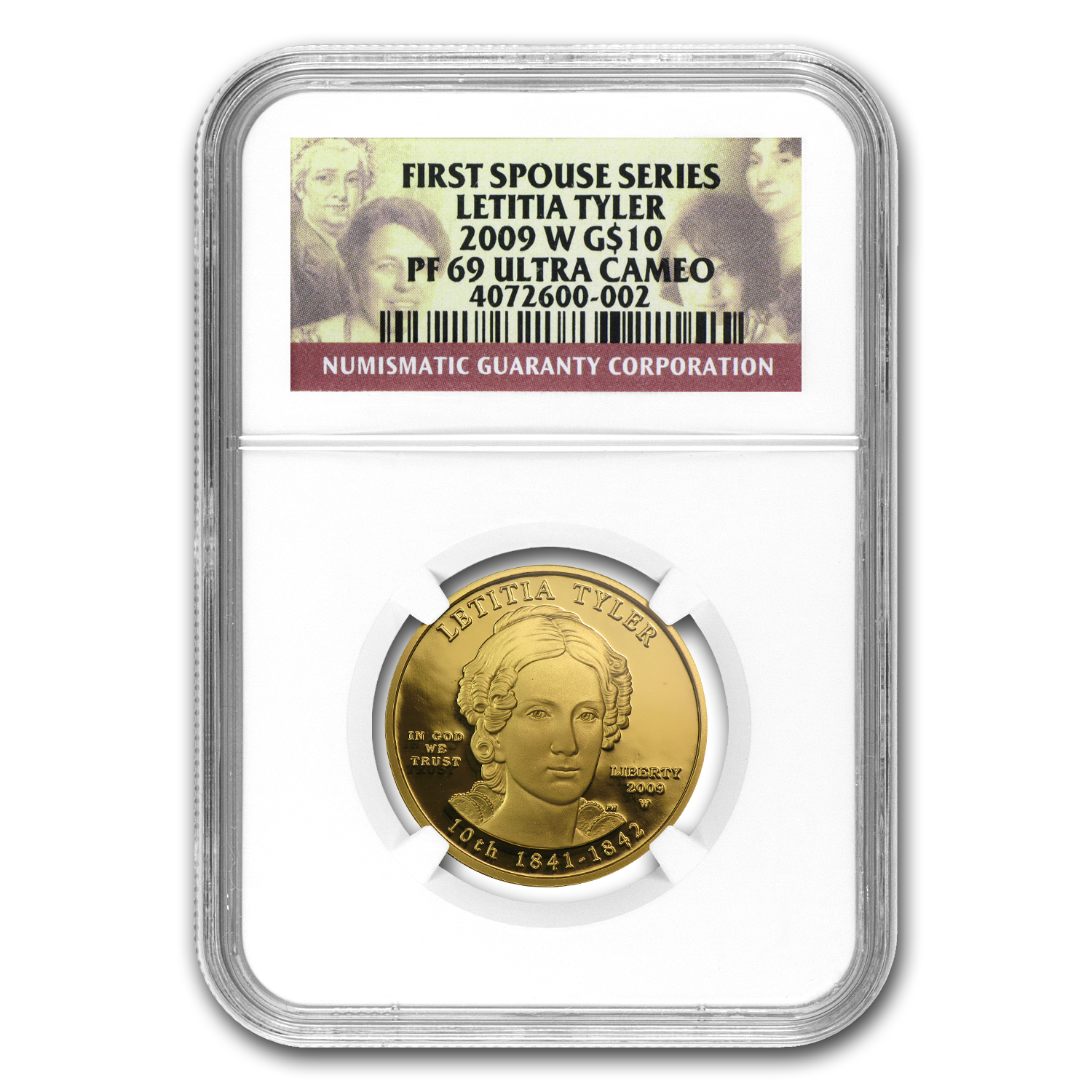 2009-W 1/2 oz Proof Gold Letitia Tyler PF-69 NGC