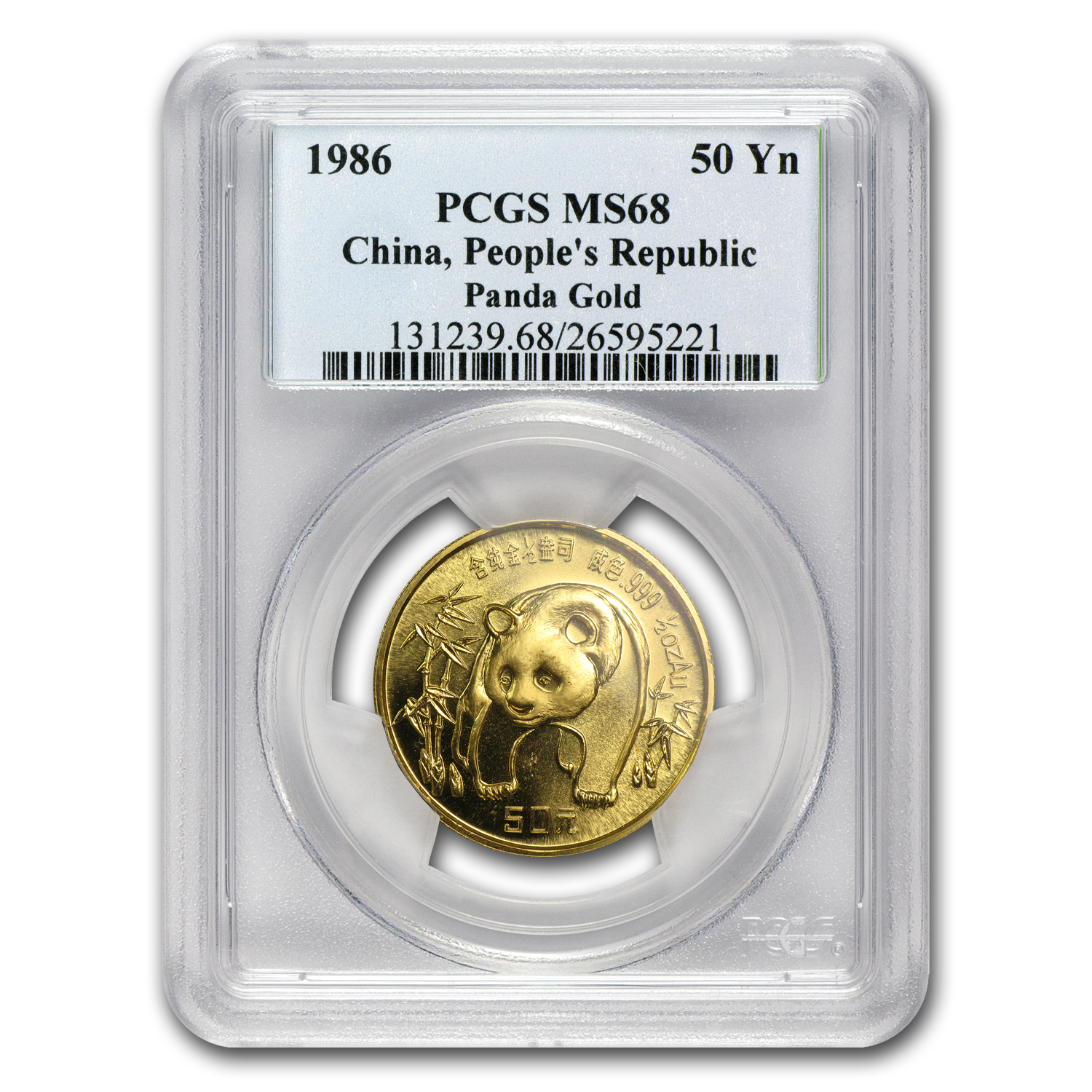 1986 China 1/2 oz Gold Panda MS-68 PCGS