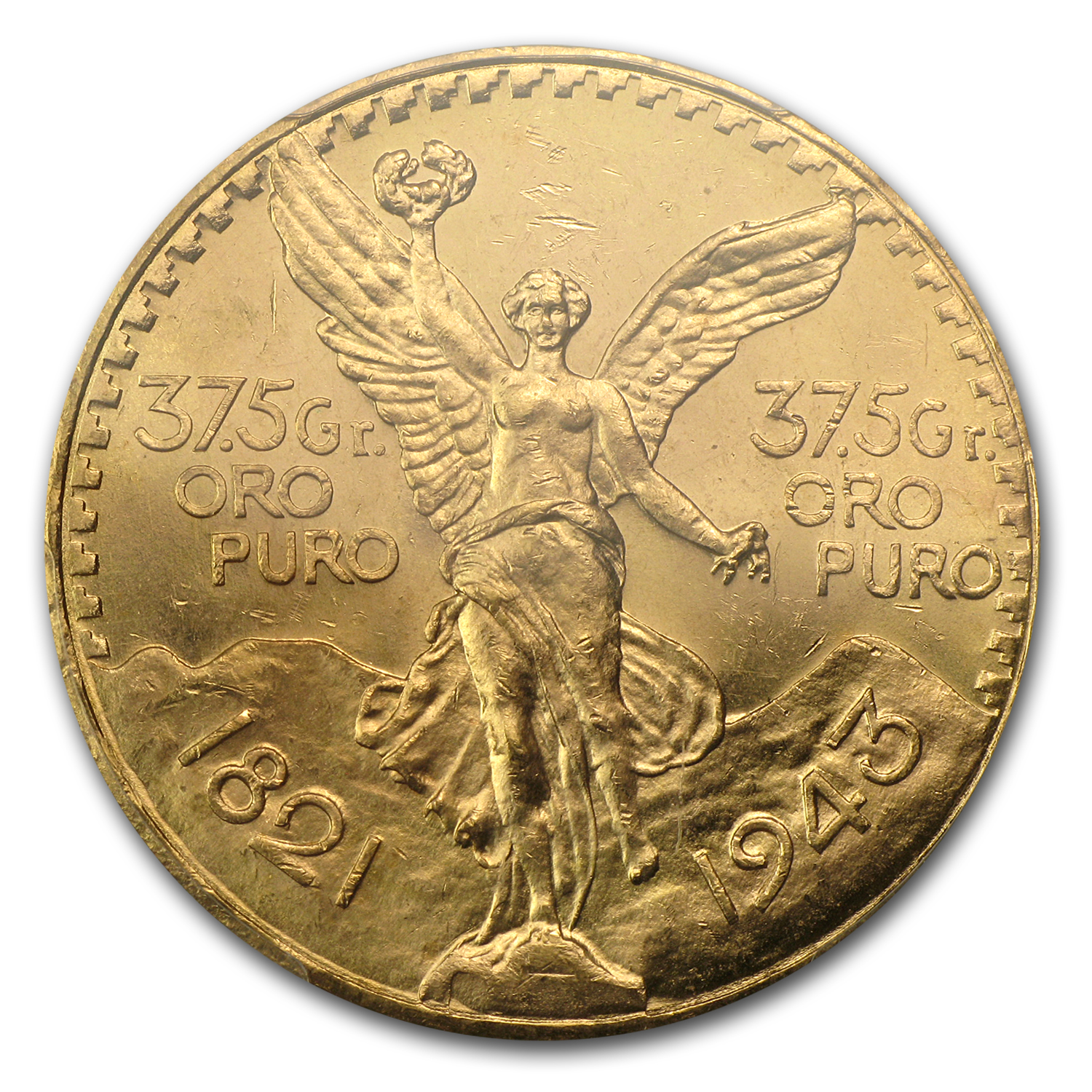 Mexico 1943 50 Pesos Gold Coin - MS-64 PCGS