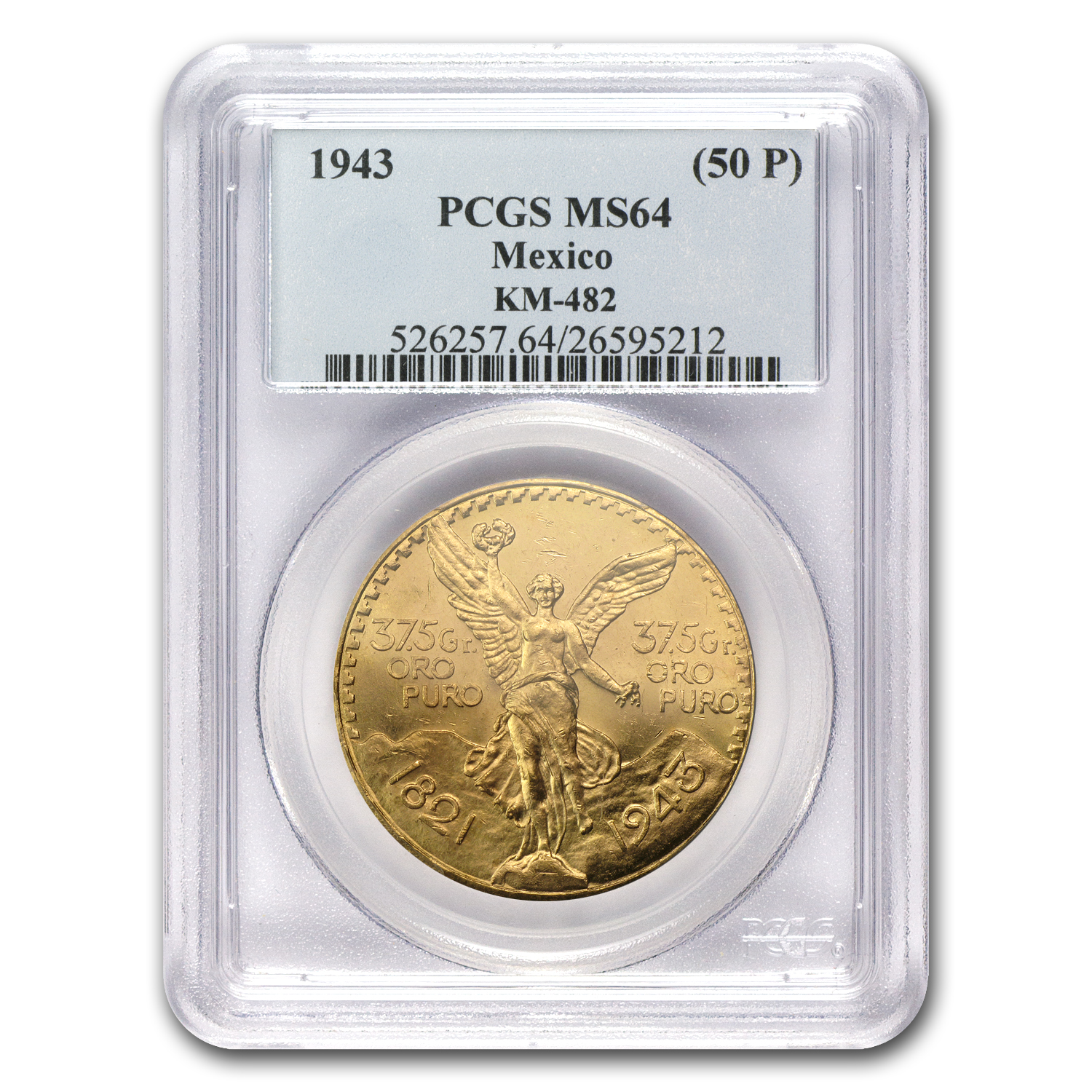 1943 Mexico 50 Pesos Gold MS-64 PCGS