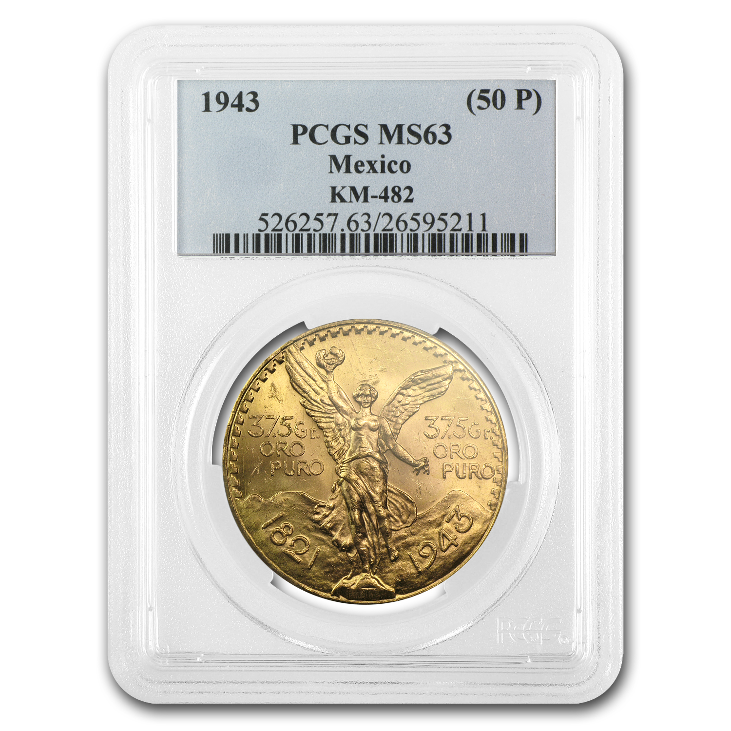 1943 Mexico Gold 50 Pesos MS-63 PCGS