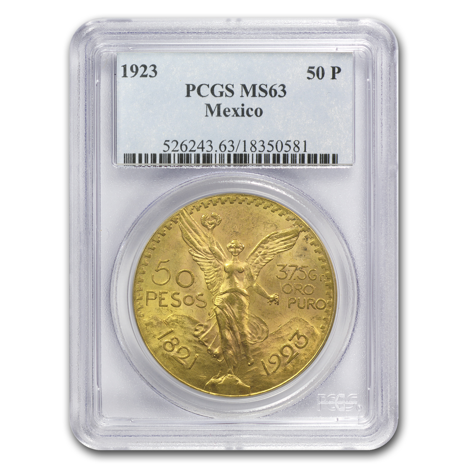Mexico 1923 50 Pesos Gold MS-63 PCGS