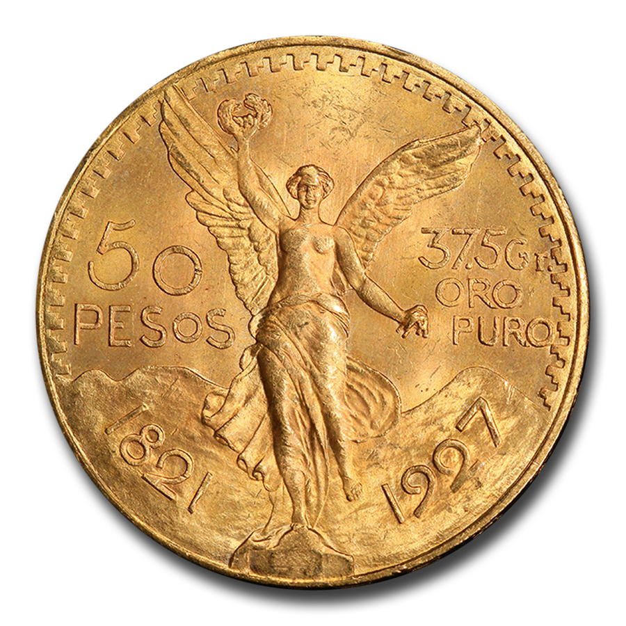 Mexico 1927 50 Pesos Gold Coin - MS-64 PCGS