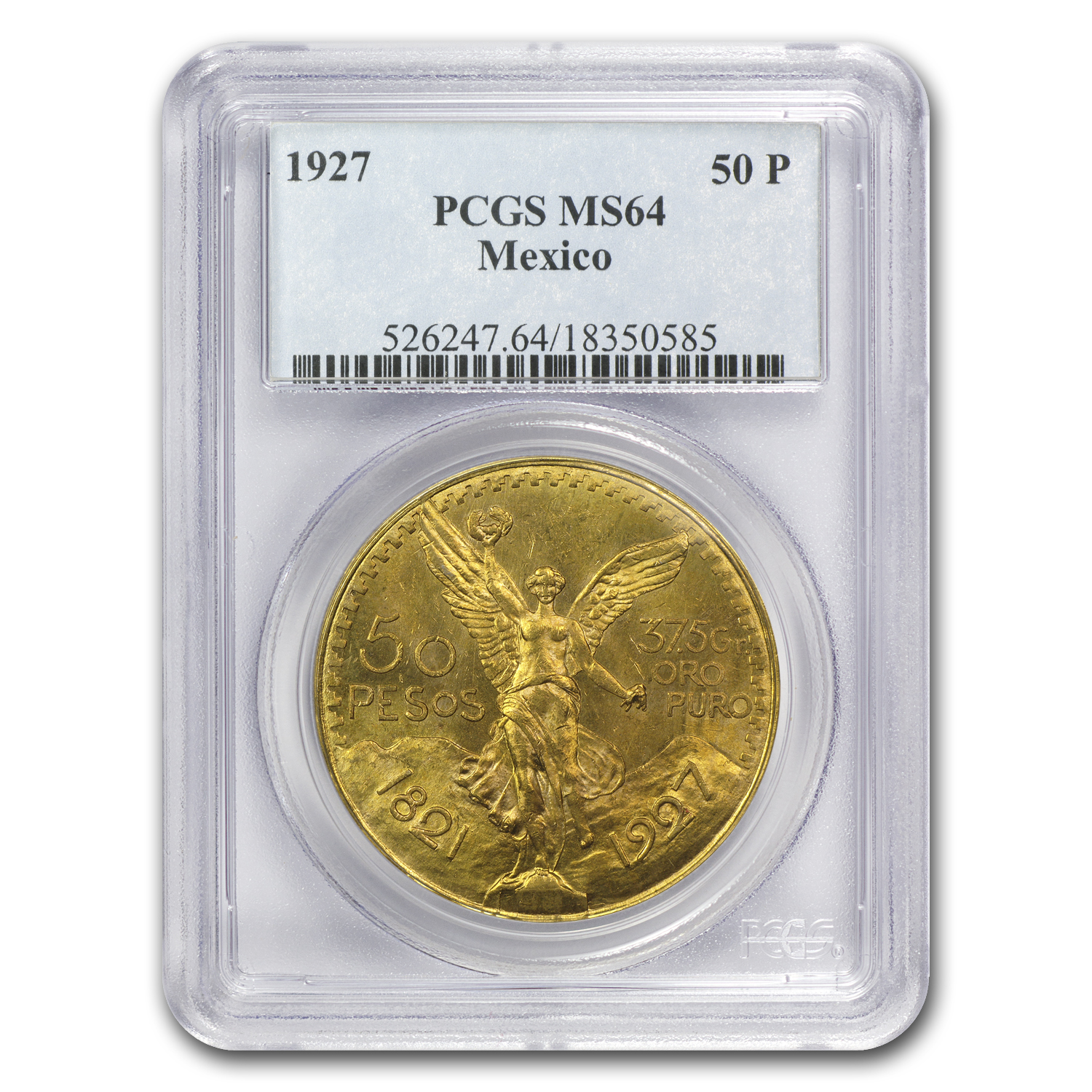 Mexico 1927 50 Pesos Gold MS-64 PCGS
