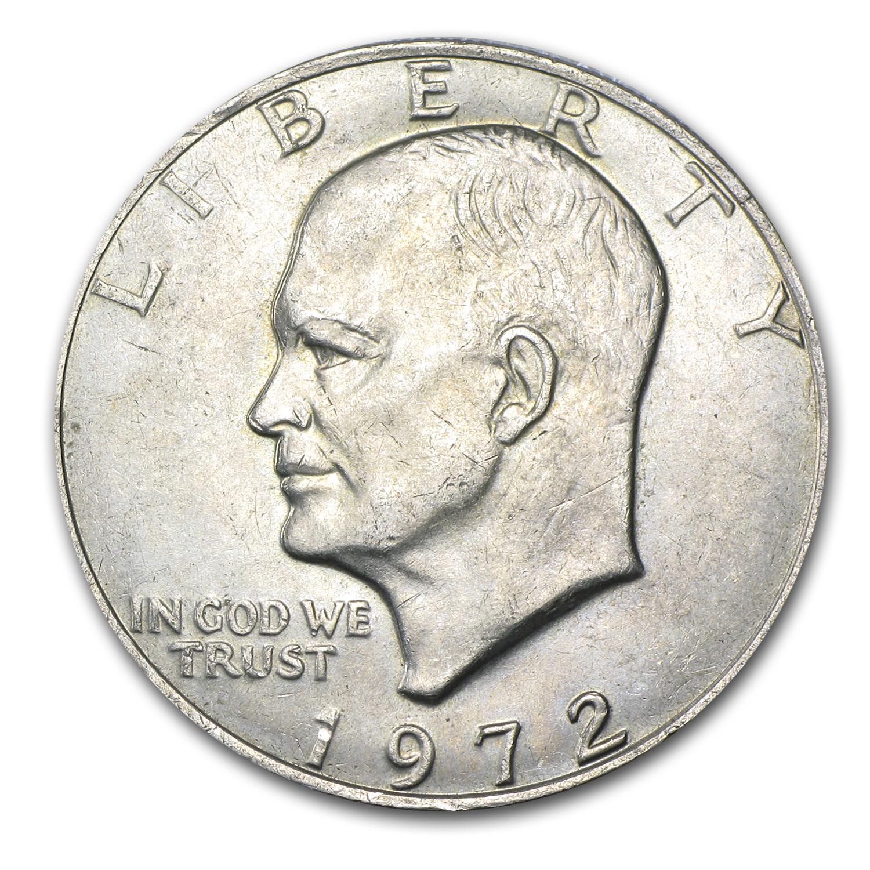 1972 Clad Eisenhower Dollar Au Type 2 Eisenhower