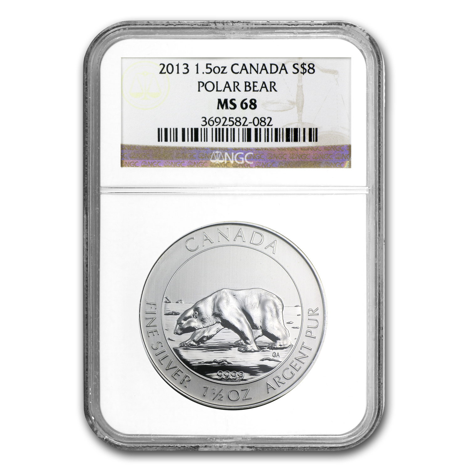 2013 Canada 1.5 oz Silver $8 Polar Bear MS-68 NGC